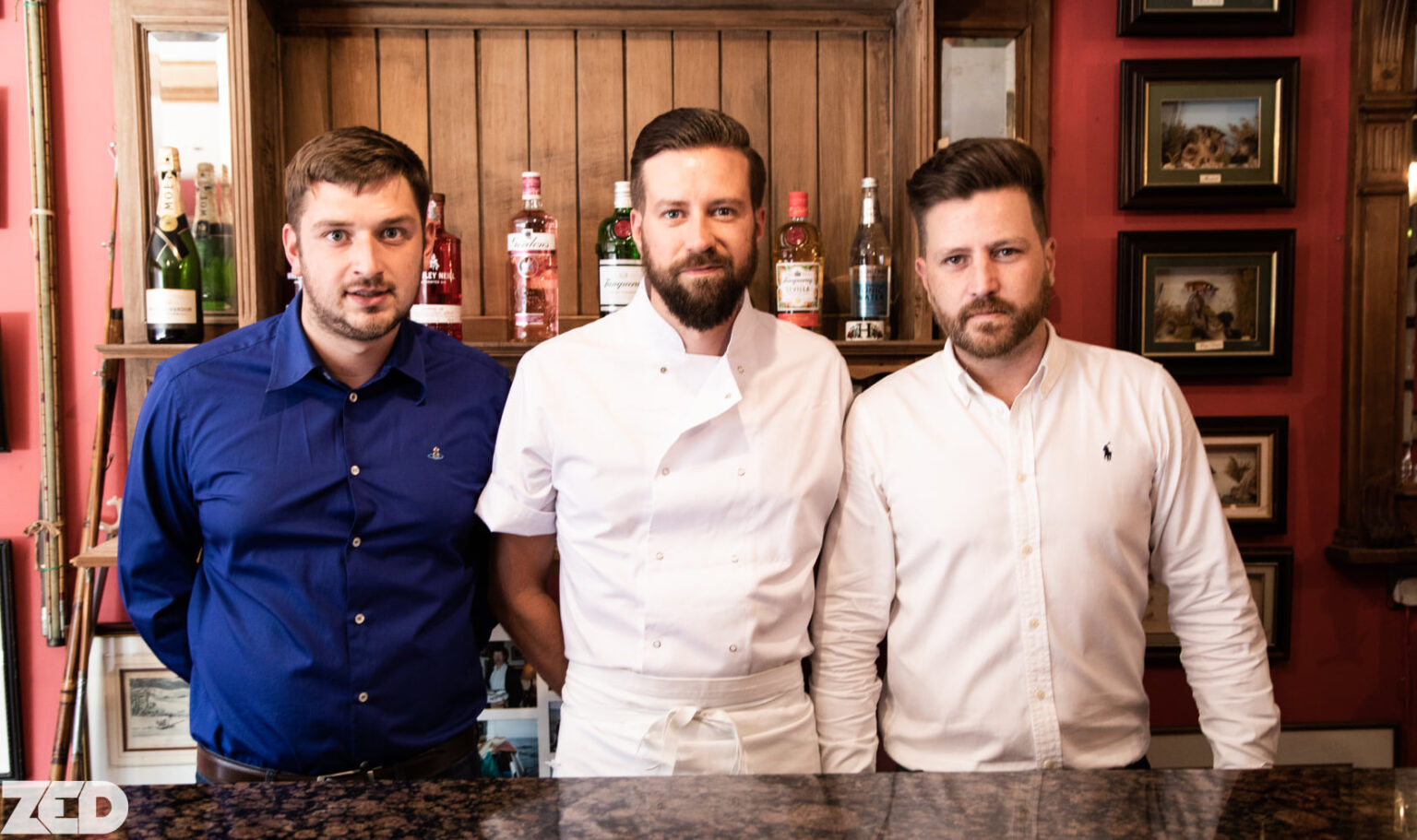 Jamie Rae (left), Partrick Tyndall (centre) and Steven Hames (right) at The Lansdowne Bistro in Southport. Photo by ZEDPhotography