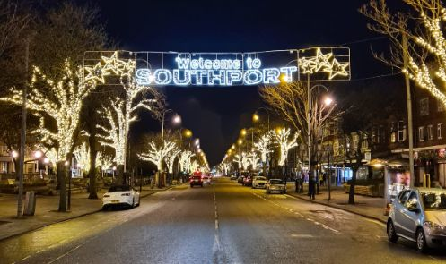 The lights along Lord Street in Southport