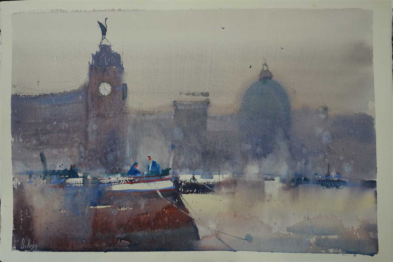 Liverpool Waterfront by Southport watercolour artist, Steve Rigby