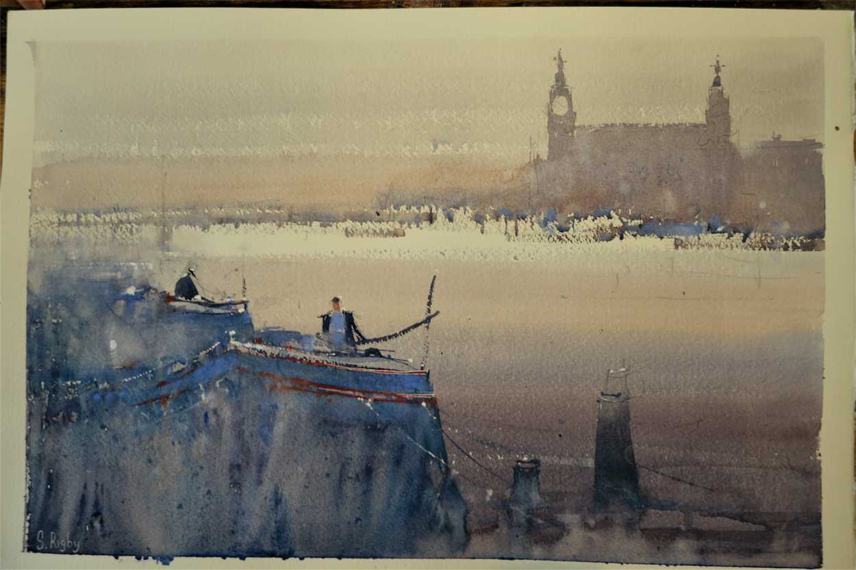 Across The Mersey by Southport watercolour artist Steve Rigby