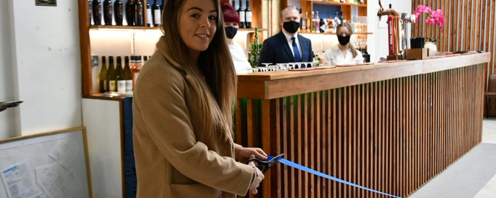 Skies on Lord Street in Southport sees new bar area declared open by Everton star Simone Magill